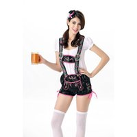 Wholesale New Design Sexy Beer Girl Costume Pieces Germany Oktoberfest Outfits Women White Top Green Overalls Fashion Beer Maid Uniform A415845