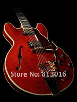 Wholesale Transparent String Body - Custom Limited Run Curly ES Semi Hollow Electric Guitar with Bigspy Transparent Red Flame Maple Top Jazz Guitars China Musical Instruments