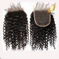 satılık örgü örtüleri toptan satış-Saç Kapaklar Kinky Kıvırcık Örgü Üst Kapaklar (4x4) 8