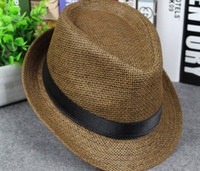 Wholesale Fedora Blue - Free Shipping Men and Women Panama Straw Hats Fedora Stingy Brim Hats Soft Vogue For Unisex 8 Colors Summer Sun Beach Caps Linen Jazz Hats