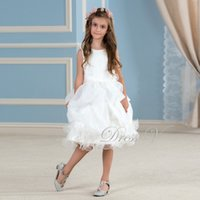 Wholesale White Knee Length Frocks - Wholesale-Cute White Lace Tutu Flower Girl Dresses Knee Length Ivory Holy Communion Dress Girls Pageant Wedding Party Gowns Frock Designs