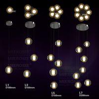 Wholesale Pendant Lights Products - Luxury LED Lighting Products Adjustable Crystal Ball Pendant Lamp Stair Hallway Light Lustre LED Bulbs Ceiling Mounted Fixture