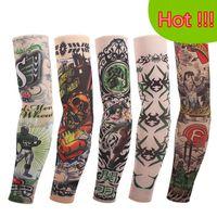 Wholesale Tattoo Prints Nylon Arm Sleeve - Wholesale-2pc=1pair tattoo sleeves fancy dress party arm Oversleeve cuff Fake arm warmer body art cycling Sunscreen harajuku sleeves 43-74