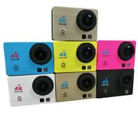 Wholesale waterproof fishing camera for sale - Group buy Q3H K Ultra HD WIFI camera M waterproof inch LCD display degree G fish eye wide angle cam outdoor sport DV