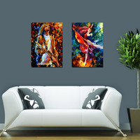 Wholesale Sing Pictures - 2PCS Unframed Colorful Music Rock Star and Dancer Art Abstract Canvas Painting Impressionist Star Sing Dance Wall Picture Room Home Decor