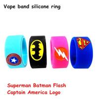ingrosso bande di gomma di batman-New Fashion Captain America Vape Band Anello in silicone Colorful Rubber Ring con Superman Batman Flash Capitan America Logo fit RDA RBA mod