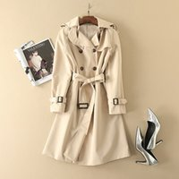 Wholesale Double Breasted Strap Trench Coat - European and American women's wear 2017 Autumn new fund Double-breasted shoulder-straps hooded long Trench coat