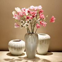 Wholesale Wholesale Wreaths Supplies - 2017 Silk flower Festive & Party Supplies Magnolia Simulation flower bouquet Decorative Flowers & Wreaths Pink White Simulation flower