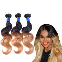 Wholesale Cheap Two Tone Blonde Hair - Blonde Ombre Hair Extensions Two Tone Color 1B 27 Ombre Brazilian Body Wave Cheap Brazilian Virgin Hair 3 4 Bundles Wet And Wavy