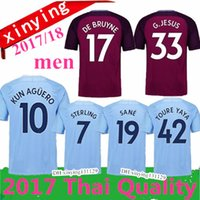 Wholesale Man City Away - 2017 2018 new man City soccer Jerseys 17 18 DZEKO KUN AGUERO KOMPANY TOURE YAYA DE BRUYNE Home Away 3RD City football Shirt