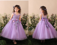 Wholesale Girl Caps Hand Made - Purple Bow Jewel Ball Gown Ankle Length Hand Made Flower Tulle Cute Applique Flower Girl Dresses