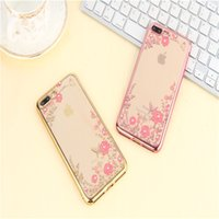 Para iPhone 7 Plus Apple shell 6 / 5SE manga protectora 5.5 pulgadas TPU diamante rhinestone funda del teléfono celular al por mayor 2017