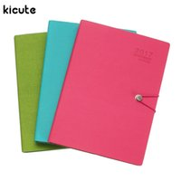 Wholesale Calendar Notebook - Wholesale- Kicute New 2017 2018 Calendar A4 Leather Notebook Schedule Daily Weekly Monthly Planner Agenda Organizer Diary Stationery Gift