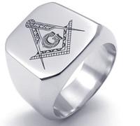 koreanischen neuen stil ringe großhandel-Edelstahl Freimaurer Männer Ring Buchstabe G Schmuck Cool Korean Style Fashion Großhandel Hot New Party Geschenk