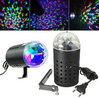 renkli ampul dönüyor toptan satış-3 W RGB Tam Renkli Otomatik Dönen Lamba Ses aktive Kristal Sihirli Topu Lazer Sahne Işık için Parti Düğün Disko DJ Bar Led Ampul KTV Işık