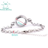 Wholesale Medium Stainless Steel Lockets - 10 pcs detachable 316L stainless steel rolo chain medium 25mm glass memory living floating czech crystal locket bracelet