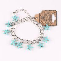 Wholesale Turquoise Star Bracelet - New arrival bracelets & bangles Vintage Summer style Bracelet For Women Five-Pointed Star Blue Turquoise Alloy hot sale