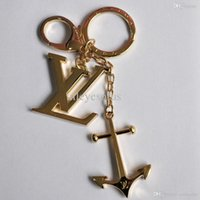 Wholesale Gold Chain Top - Wholesale-TOP quality Anchor key chains with logo box free ships