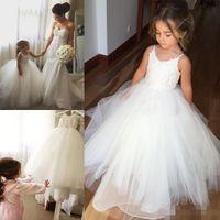 Wholesale Kids White Casual Wedding Dress - 2017 Appliques Flower Girls Dresses For Weddings Spaghetti NeckLine Girls Casual Wears Long Floor Length Little Kids First Communion Gowns