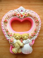 Wholesale Teddy Bear Chocolates - Idyllic wedding teddy bear cute photo frames fondant cake mold silicone mold chocolate mold soap candles tool free shipping