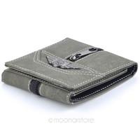 Wholesale Women S Card Holder - 3 Fold Men\'s Wallet Retro Manmade Canvas Wallet Men Multi-Card Wallets Purse