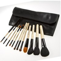 Wholesale Girls Facial Hair - 12Pcs set Brand Makeup Brushes Professional Cosmetic Foundation Blush Eyeshadow Brush Kit Girls Women Facial Care Beauty Tools with PU Bag