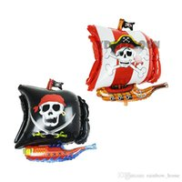 Wholesale Decorated Balloons - 2016 The New Aluminum Pirate Ship Membrane Balloon Skulls Decorate The Balloon Halloween Party Decorations 17