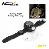Wholesale Camping Watches Compass - ALONEFIRE 2211 Tactical Compass FlashLight Rechargeable Q5 LED Watch Flashlight Wristlight Waterproof Wrist Lighting Lamp Outdoor 800LM