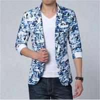 Wholesale Half Mens Suit - Wholesale-2016 Mens Floral Print Blazer Jaqueta Masculina Big Men Short Sleeved Suits Half Sleeve Summer Jacket Plus Size M-4XL 5XL 6XL