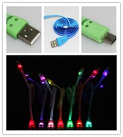 smiling face led flash with best reviews - 1M 3FT Micro USB Cable Visible Smiling Face LED Light Cord Data Charger Flashing Noodle Flate v8 Line for Samsung Xiao mi