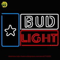 Commercio all'ingrosso - Bud Light Star Beer Luce del segno del neon Sign Art Decorazione del mestiere Neon lampadina Vetro tubo Design Design Neon Segno Attraente Bright VD 31x20