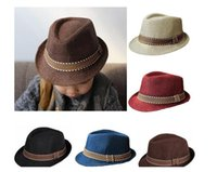 Wholesale Toddler Boys Fedora Hats - Toddler Kid Baby Girl Boy Fedora Hat Jazz Cap Photography Cotton Trilby Top Cap