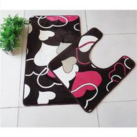 Wholesale heart rugs - 2 pcs set Heart Design Printed Bathroom Carpet U Shape Bathroom Rug Set Anti-Slip Toilet Rugs Absorbent Bath Mat tapete banheiro