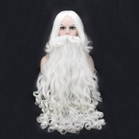 Wholesale white wig cosplay long - Santa Claus Long Wavy Wig White Santa Claus beard set Fancy High Temperature Fiber Cosplay wig