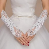 Wholesale Wholesale Red Satin Gloves - Wholesale-White Ivory Red Long Satin Fingerless Wedding Gloves Bride Bridal Gloves Accessories for Wedding LF6