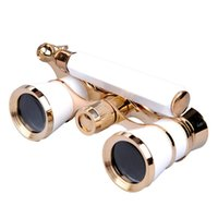 Wholesale 3x25 Binocular - 2015 New Binocular Opera & Theater Telescope Exquisite 3x25 Glasses White Boday With Golden Frame Christmas New Year gift