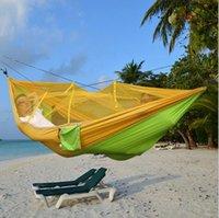 ingrosso piegare l'amaca del campo-Outdoor Furniture amaca letto doppio paracadute campeggio amaca Doppia tenda sospesa portatile amaca pieghevole letto swing con zanzariera