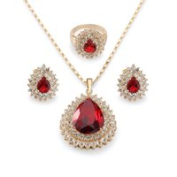 Wholesale Teardrop China - Magnificent 18k Yellow Gold Plated Ruby Drop Jewelry Set Women's Teardrop Pendant Necklace Charm Finger Ring Stud Earring Set