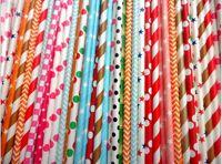 Wholesale Eco Paper Straw - Multi color for choice Paper Drinking Straws Birthday Wedding Party Event Hawaiian Holidays Luau Sticks KTV Drinking Straws