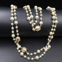 halskette stränge großhandel-2016 Fashion Damen Golden Chain Elegante Perlen Perle Design lange Pullover Kette Halsketten Stränge / Strings Weihnachtsgeschenk