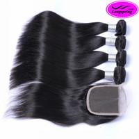 extensions de cheveux vierges achat en gros de-Brésiliens Cheveux Raides Weaves avec Top Dentelle Fermeture Non Transformés Malaisie Péruvienne Vierge Indien Extensions de Cheveux Humains Remy Cheveux Trames