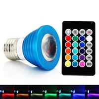Wholesale Case Led Bulbs - Blue Case 3W E27 RGB LED Bulb with Memory Function 16 Colors Changing LED Light Bulb with Remote RGB LED Lamp Light Bulb 3W LED Spotlight