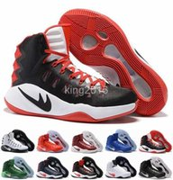 Wholesale Elastic Rubber Ball - Hyperdunk 2016 Olympic Mens Basketball Shoes Men Air Zoom Hyperdunks Sneakers Red Black High Quality Basket ball Shoe Sneakers Size 7-12