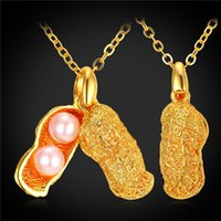 Wholesale Peanut Necklace Charm - Unique Peanut Lucky Charms Necklaces & Pendants 18K Real Gold Plated Pink Pearl Bead Choker Pendant Jewelry Wholesale P11971