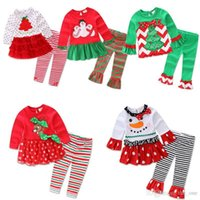 Wholesale Children Top Dress - Children Christmas clothing Outfits for baby girl Cute Pajamas set Petal top+ pant 2017 Snowman Santa Christmas Tree dress Free DHL shipping