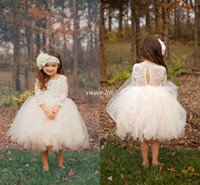Wholesale Cheap Baby Caps - Cute Ball Gown Boho Country Wedding Flower Girl Dresses Illusion Long Sleeve Tulle Skirts Tea Length 2016 Cheap Baby Kids Communion Dresses