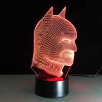 ingrosso testa di batman-2018 Batman Head 3D Illusion Optical Night Light DC 5V USB ricarica batteria AA Dropshipping Wholesale Spedizione gratuita
