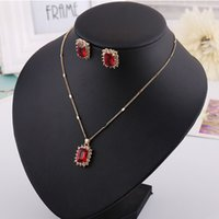 Wholesale Green Dinner Plates - Necklace & Earring set, Red Blue Greet diamond pendants,Ruby,Sapphire for dinner party, wedding, hign quality and free shipping