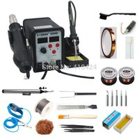 Wholesale Rework Station Hot Air - Saike 898D Rework Hot Air station Soldering Desoldering Station, SMD Rework Station, 750W, with Welding Tools Kit