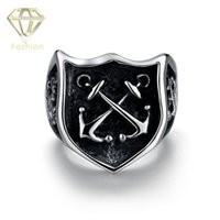 Wholesale Anchor Rings For Men - Military Rings Popular 316L Stainless Steel Double Anchor Ring Punk Vintage Party Ring Fashion Jewelry for Men Wholesale